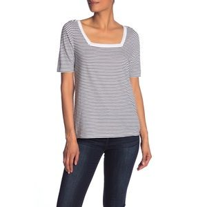 SUSINA | Square Neck Striped Short Sleeve T-Shirt